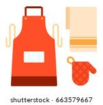 apron  kitchen towel and... | Shutterstock .eps vector #663579667