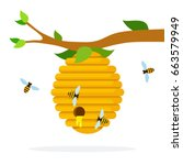 Honey Hive With Bees Hanging O...