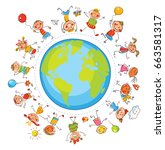 earth day. multicultural... | Shutterstock .eps vector #663581317