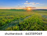 sunset at cultivated land in... | Shutterstock . vector #663589069