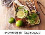 lemon fruit lime caipirinha of... | Shutterstock . vector #663600229
