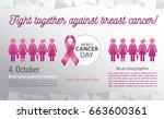 breast cancer awareness poster. ... | Shutterstock .eps vector #663600361