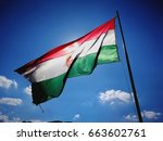 hungarian flag waving in the... | Shutterstock . vector #663602761