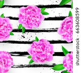 seamless pattern with peonies...   Shutterstock .eps vector #663608599