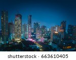 bangkok night view with... | Shutterstock . vector #663610405
