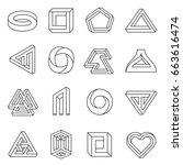 impossible figures line art... | Shutterstock .eps vector #663616474