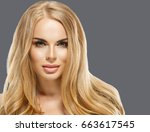 woman cosmetic closeup beauty... | Shutterstock . vector #663617545