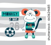 cute monkey cartoon  soccer... | Shutterstock .eps vector #663624685