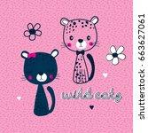 cute leopard cartoon  two...   Shutterstock .eps vector #663627061