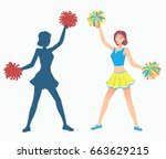 cheerleader with pom poms and... | Shutterstock .eps vector #663629215