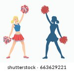cheerleader with pom poms and... | Shutterstock .eps vector #663629221