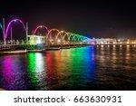 the floating bridge at sunset  ... | Shutterstock . vector #663630931