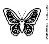 black openwork butterfly on... | Shutterstock .eps vector #663632551