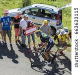 Small photo of COL DU GRAND COLOMBIER,FRANCE-JUL 17: The cyclist Nelson Oliveira of Movistar Team riding on the road to Col du Grand Colombier in Jura Mountains during the stage 15 of Tour de France 2016.