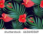 vector tropical flowers and... | Shutterstock .eps vector #663640369
