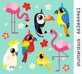 Set Of Cute Birds. Bright...