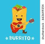 tasty cute happy smiling... | Shutterstock .eps vector #663649354