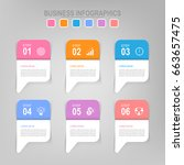infographic template of six... | Shutterstock .eps vector #663657475