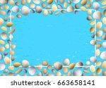shells frame. blue grunge...   Shutterstock .eps vector #663658141