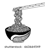 doodle noodle at bowl and stick.... | Shutterstock .eps vector #663664549