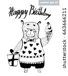 cute hand drawn bear on white... | Shutterstock .eps vector #663666211