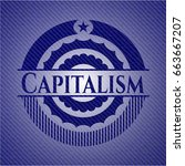 capitalism emblem with jean... | Shutterstock .eps vector #663667207