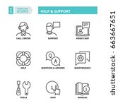 line icons about help and... | Shutterstock .eps vector #663667651