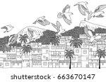 birds over rio   hand drawn... | Shutterstock .eps vector #663670147