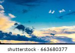 evening scene bright horizon  | Shutterstock . vector #663680377