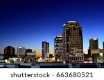 downtown phoenix at dusk | Shutterstock . vector #663680521