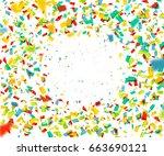 colorful confetti falling... | Shutterstock .eps vector #663690121