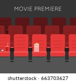 cinema hall with red cinema... | Shutterstock .eps vector #663703627