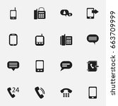 set of 16 editable gadget icons.... | Shutterstock .eps vector #663709999