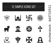set of 12 editable religion... | Shutterstock .eps vector #663710521