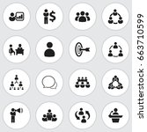 set of 16 editable team icons.... | Shutterstock .eps vector #663710599