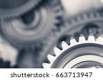 engine gear wheels  industrial... | Shutterstock . vector #663713947