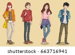 group of cartoon young people.... | Shutterstock .eps vector #663716941
