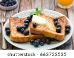 blueberry french toast country... | Shutterstock . vector #663723535