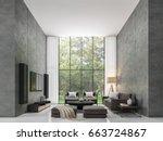 modern loft living room 3d...   Shutterstock . vector #663724867