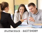 happy customers ready to sign a ... | Shutterstock . vector #663734089