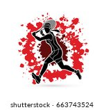 tennis player running   woman... | Shutterstock .eps vector #663743524
