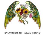 rose and flowers with angel or... | Shutterstock .eps vector #663745549