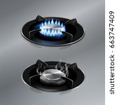 kitchen gas stove on stainless... | Shutterstock .eps vector #663747409
