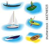 set of six different kind boats ... | Shutterstock .eps vector #663748525