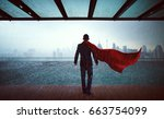 businessman in a suit and hero... | Shutterstock . vector #663754099