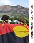 Small photo of TOWNSVILLE, AUSTRALIA - JUNE 06 2017: Dancers from Torres Strait Islands performing at Mabo Day Festival celebrating twenty-five years since historic High Court Mabo ruling recognising Indigenous Abor