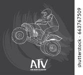 hand drawn illustration of atv... | Shutterstock .eps vector #663767509