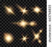 set of transparent lens flares... | Shutterstock .eps vector #663768835