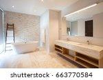 luxury bathroom features basin  ... | Shutterstock . vector #663770584