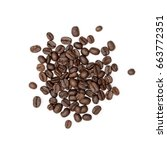 coffee beans. isolated on white ... | Shutterstock . vector #663772351